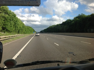 The open road: brief spell on the M1, heading south.
