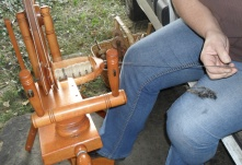 Gotland x Shetland wool being spun