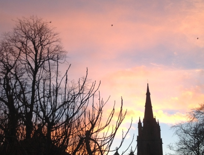 February sky with church
